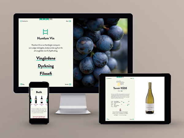 Humlum Wine - a visual identity and website for a small biodynamic wine retailer