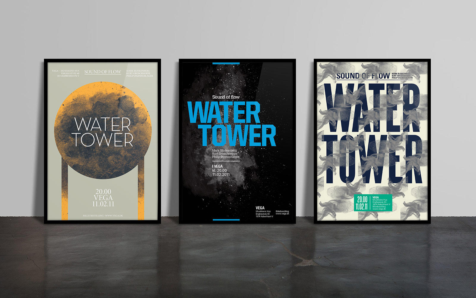 Water Tower - a series of three posters for a rock band
